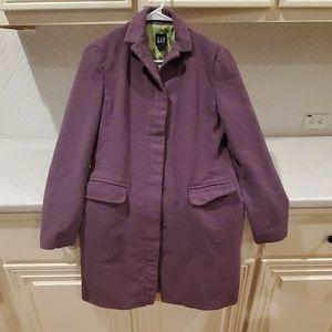 Gap size small purple wool long pea coat